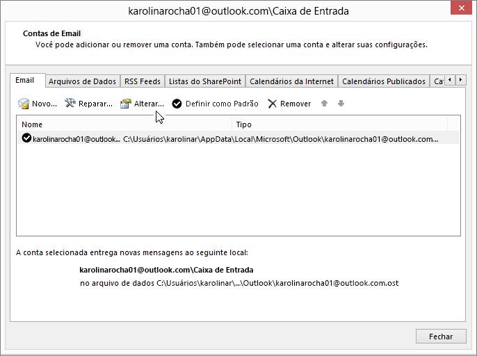 Alterar configurações da conta de email