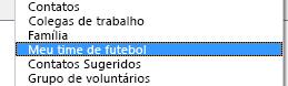 O novo catálogo de endereços é exibido na caixa de diálogo Catálogo de Endereços na respectiva lista suspensa.