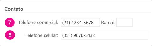 Captura de tela dos campos de número de telefone que estão sincronizados no Yammer
