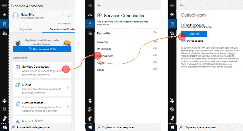 Captura de tela com a Cortana aberta no Windows 10 e o menu de serviços conectados aberto.