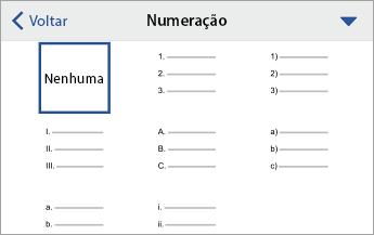 Comando Numeração, mostrando opções de formatação