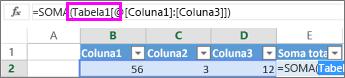 O nome da tabela é exibido em fórmulas