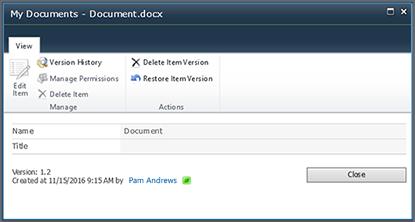 Caixa de diálogo de histórico de versões do SharePoint 2010