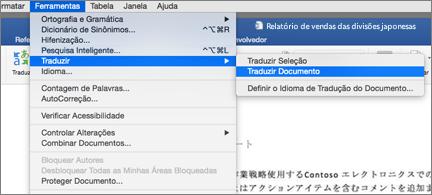 Um documento com o menu Ferramentas expandido para mostrar o comando Traduzir