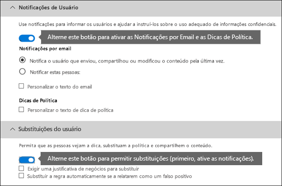 Seções de notificações e substituições do usuário do editor de regras DLP
