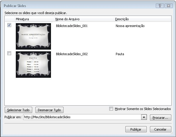 Caixa de diálogo Publicar Slides