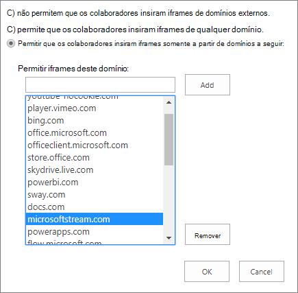 Definir as restrições ao adicionar iFrames