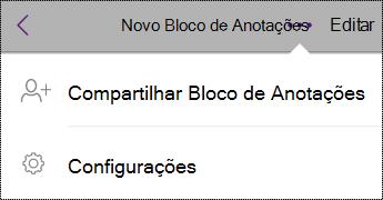 Botão de configurações em blocos de anotações no iPhone.