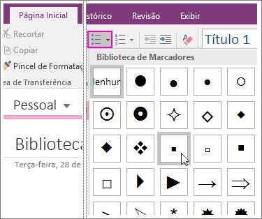 Captura de tela de como adicionar marcadores a uma página no OneNote 2016.