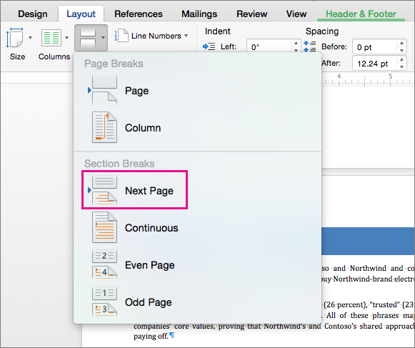 Clique em Próxima Página para inserir uma quebra de seção que faz com que o texto após a quebra comece na página seguinte.