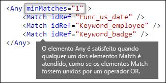 Marcação XML mostrando o elemento Any com o atributo minMatches