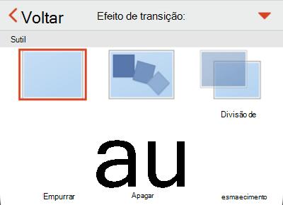 Opções de efeito de transição.