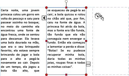 Captura de tela de uma caixa de texto com o texto excedente pronto para ser transferido para outra caixa de texto.