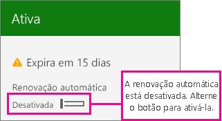 Captura de tela da assinatura mostrando a opção ativar/desativar renovação automática