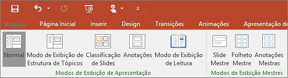 Mostra o menu Exibição no PowerPoint