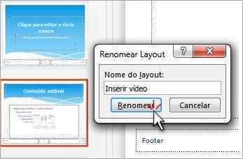 renomear um layout de slide