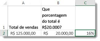 U$125.000 na célula A2, U$ 20.000 na célula B2 e 16% na célula C2