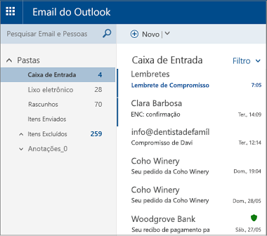 Tela principal Outlook.com.ou Hotmail.com