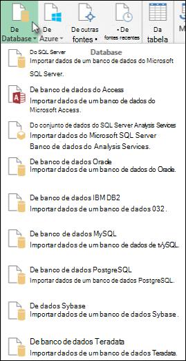 Caixa de diálogo obter dados do banco de dados