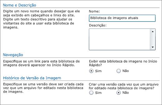 Caixa de diálogo Adicionar nome, diagrama, início rápido e controle de versão.