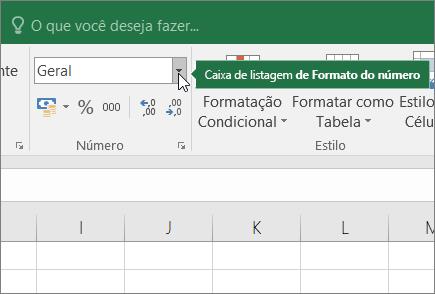 Caixa de listagem Formato de Número