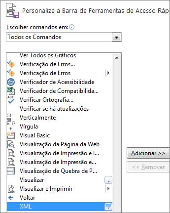 Na lista de comandos, escolha XML e, em seguida, clique em Adicionar.