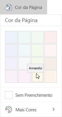 Opções de cores de página no OneNote para Windows 10