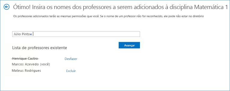 Captura de tela da lista de professores.