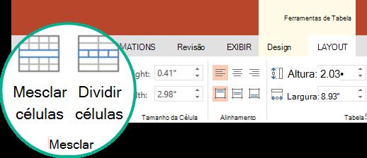 Em ferramentas de tabela, na guia layout, no grupo mesclar, selecione mesclar células.