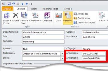 Modo de exibição Detalhes de um contato do Outlook