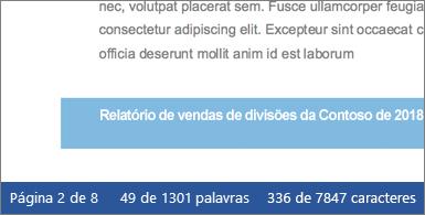Documento com contagem de caracteres exibida na barra de status