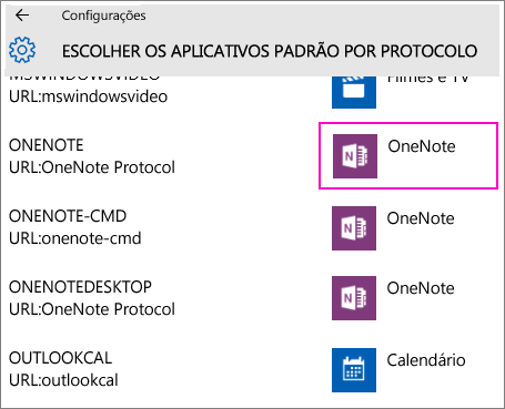 Captura de tela dos protocolos do OneNote nas Configurações do Windows 10.