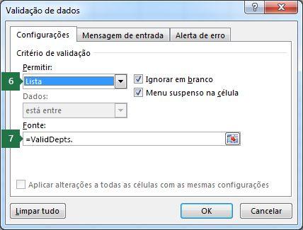 Selecionar as configurações desta lista suspensa na guia Configurações no Excel
