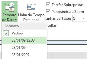 Botão e menu de Formato de Data da Linha do Tempo no Project