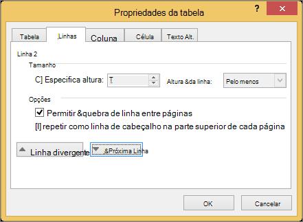 Guia de linha na caixa de diálogo Propriedades da tabela