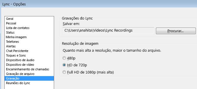 Captura de tela de localização e resolução de gravação do Lync