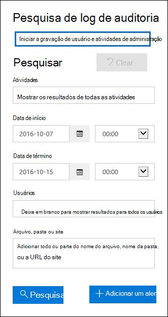 """Clique em """"Iniciar gravação de atividades do administrador e dos usuários"""" para habilitar a auditoria"""