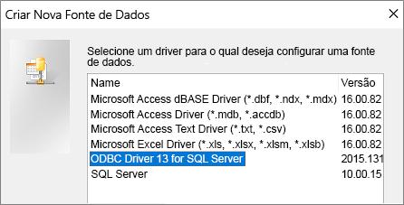 Caixa de diálogo Criar Nova Fonte de Dados