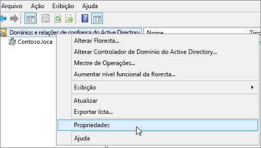 Clique com botão direito do mouse em Domínios e Relações de Confiança do Active Directory e escolha Propriedades