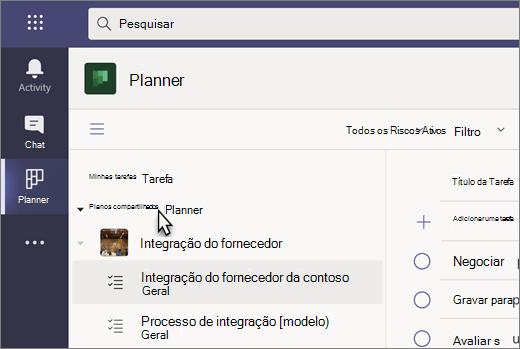 Captura de tela do aplicativo Tarefas no Teams, atualmente chamado de Planner