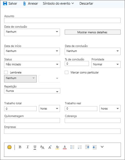 Formulário de detalhes de tarefa do Outlook.com