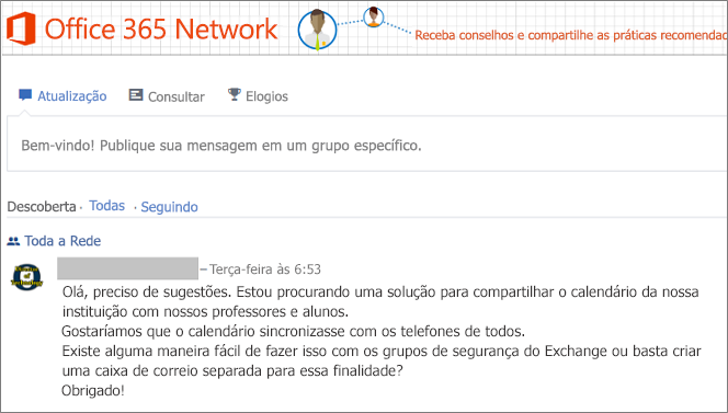 A home page da Office 365 Network