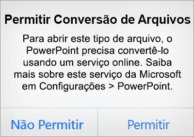 Mostra o aviso de privacidade ODF no PowerPoint para iPhone