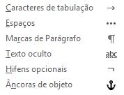 Esses são os caracteres de formatação disponíveis em mensagens de email.