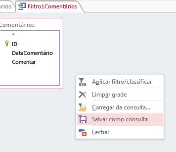 Menu contextual em Filtrar/Classificar Avançado