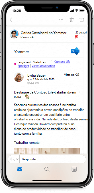 Trabalhando com o Yammer a partir de aplicativos móveis do Outlook