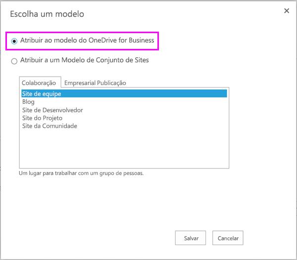 Atribuir a OneDrive para a opção de modelo de negócios