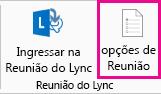 Captura de tela das opções de Reunião do Lync na faixa de opções