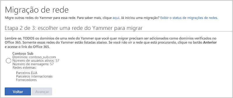 Captura de tela da etapa 2 de 3: escolher uma rede do Yammer para migrar