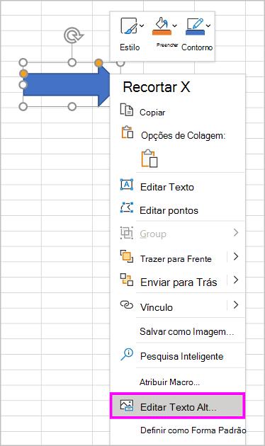 Opção Editar Texto Alt no menu de clique com o botão direito do mouse para uma forma de seta